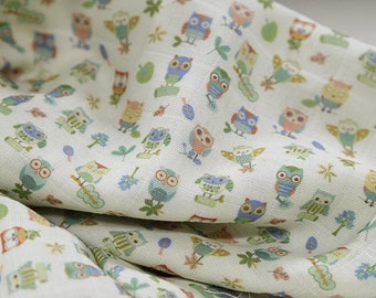 Owls Cotton Double Gauze Fabric - 59 Inches Wide - By the Yard 92509