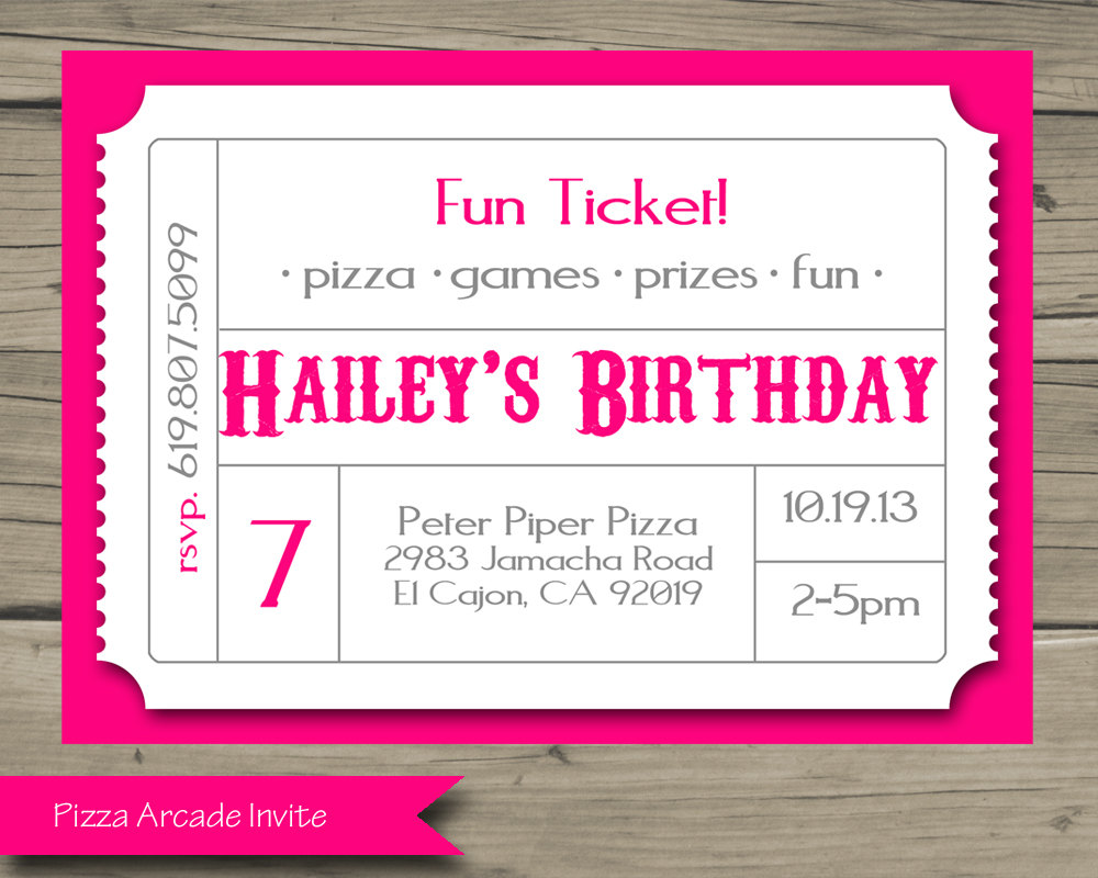 Pizza Arcade Birthday Party Invitation Printable Birthday