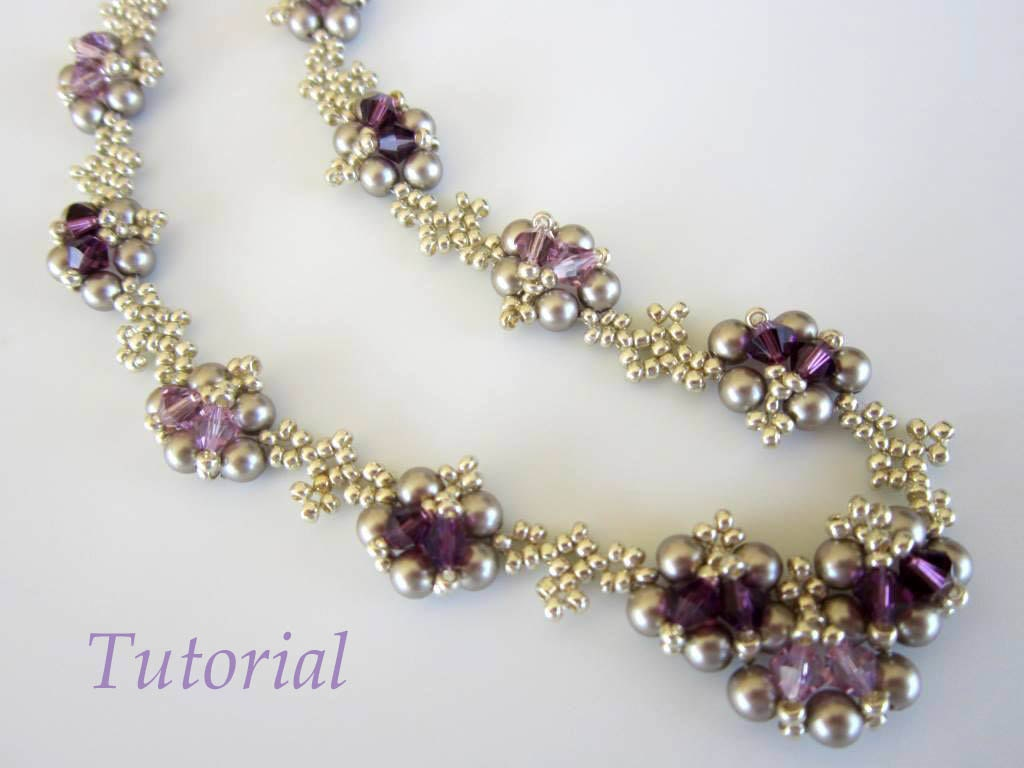 PDF beaded necklace tutorial seed bead crystal pearl