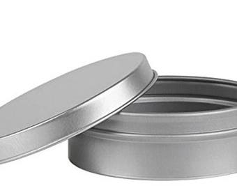 4 oz Flat Round Tin Container with Solid Slip Cover