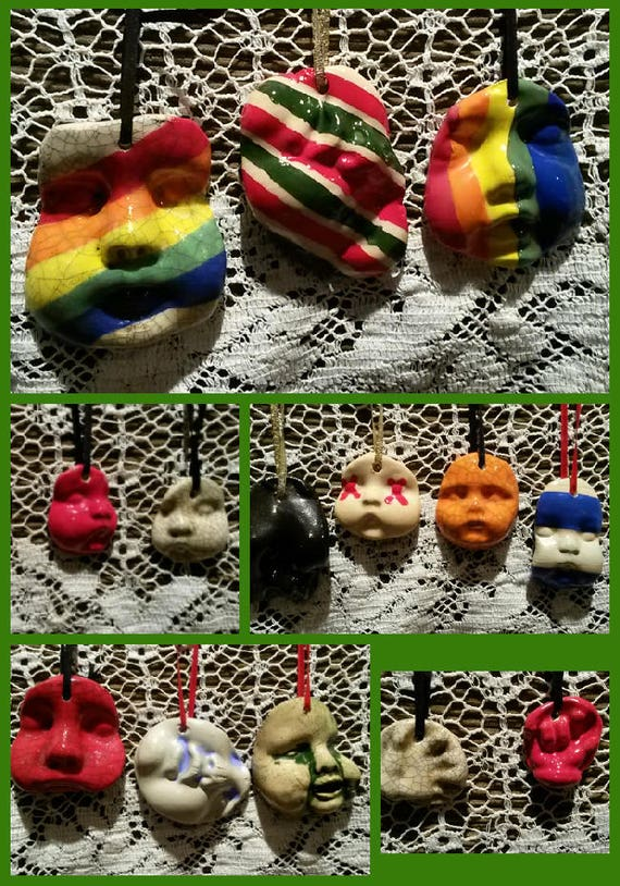 Ceramic Baby Faced Ornaments