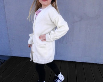 Button down cardigan with wide sleeves for girls