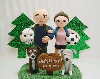 Avid hikers with  2 dogs Custom wedding cake topper