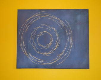 Original Abstract Acrylic Blue Gold Painting 24 x 20 inches