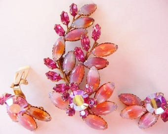 Flowering leaf pin brooch and clip earrings set   pink light blue peach sabrina glass cabs   vintage stones   unsigned designer