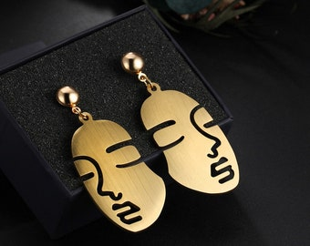Abstract Art Face Earrings