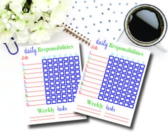 Chore Chart. Responsibility Chart. **Digital Download** Colorful Chart. Playroom. Boys Room. Girls Room. Fun Design. Clean Mama.