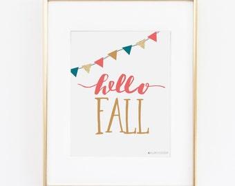 Fall Decor | Fall Printable | Fall Prints |Hello Fall Printable Art | Instant Download | Autumn Printable |Printable Art|Autumn |Hello Fall