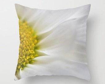 Pillow Cover, Daisy Photography Cushion Case, Freesia Yellow Bedroom Accent, Handmade in Canada, Floral Victorian Decor, French Cottage Chic