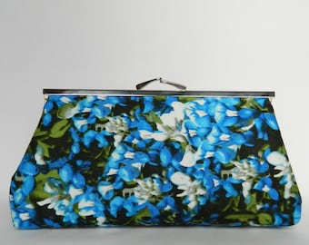 Blue Floral Clutch, Clutch Purse, Floral Bridesmaids Clutch, Wedding Clutch, Bridesmaids Clutch, Bridesmaids Gifts, Ladies Gifts