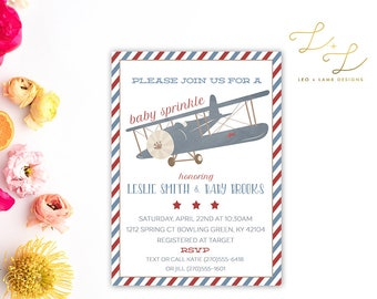 Airplane Sprinkle Baby Shower invitation - Printable or Printed Baby Shower Invite - 5x7