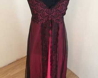 Double Layer Sheer Nightie Hot Pink and Black (L)