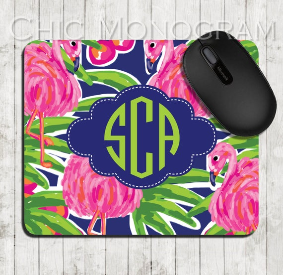 Pink Flamingos Mouse Pad Personalized Flamingo Mousepad Lilly Inspired Office Gifts Custom Office Decor Monogrammed Gifts for Coworkers