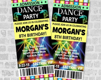 Ticket Dance Party Invitation, Custom Boy or Girl Dance Birthday Party Ticket Invites, Digital Or Printed