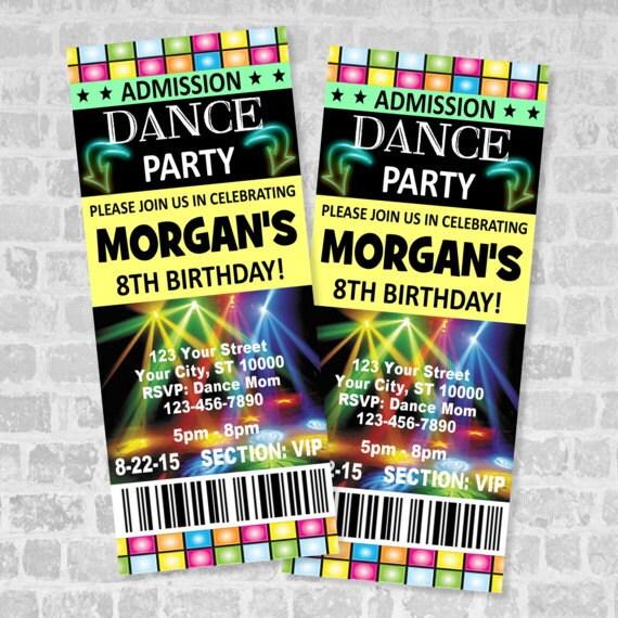 Ticket Dance Party Invitation Custom Boy Or Girl Dance