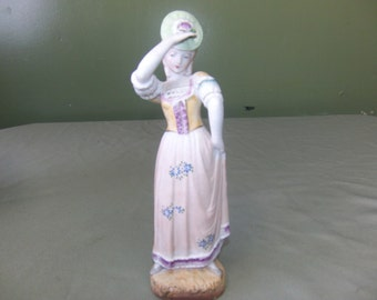 ceramic girl figurine from L & M Inc., vintage statue, vintage figurine, colonial girl statue
