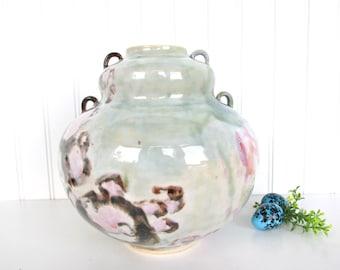 Vintage Modern Contemporary Art Studio Pottery Vase, Double Handle Large Pottery Vessel, Large Bulbous Vase
