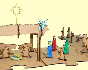 Christmas Nativity 3d in wood-crafts