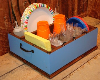 Paper plate holder utensil holder caddy organizer for napkins, paper plates, utensils and more. Great gift idea.