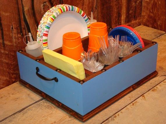 & Paper plate holder utensil holder caddy organizer for napkins