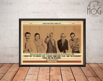 TRAINSPOTTING Poster - Quote Retro Movie Poster - Movie Print, Film Poster, Wall Art, Danny Boyle Print
