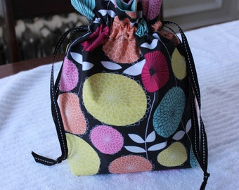 Small Knitting/Crochet Project Drawstring Bag - Modern Flowers with Blue Lining