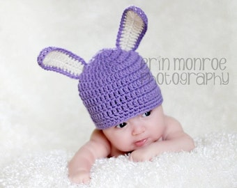 PDF Crochet Pattern - Bunny Rabbit Ear and Hat Pattern: Newborn to 5 Years