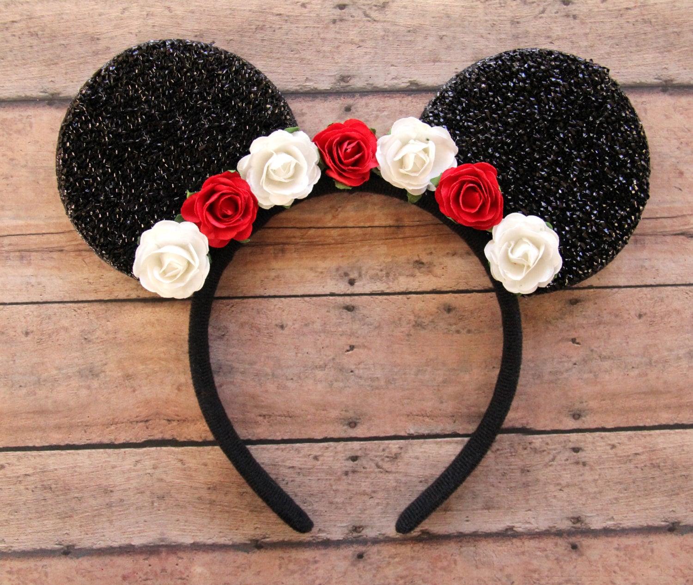 Minnie Mouse ears headband Silver Sparkle ears Pink Sequin Bow Mickey Mouse  Ears, Disneyland,