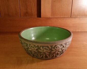 Robinson Ransbottom Pottery Bulb Bowl Green Brushware Pottery Daffodil Jonquil Design Bowl
