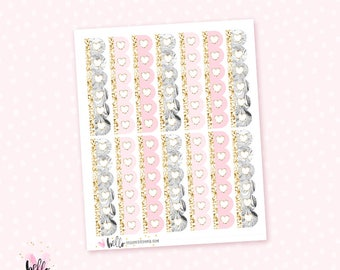 Marble and Pink heart scalloped checklists - 14 planner stickers