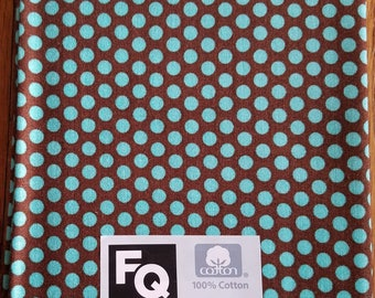 """Fabric Quarters Cotton Fabric 18""""- Turquoise Dots on Brown"""