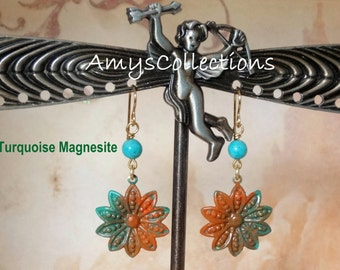 Turquoise Magnesite Decennial Flower hand-painted dangle Earrings (1 Pair) One-of-a-Kind