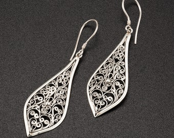 Hand Made Filigree Earrings. Sterling Silver Ethnic Earrings. statement earrings. long earrings. hippie.