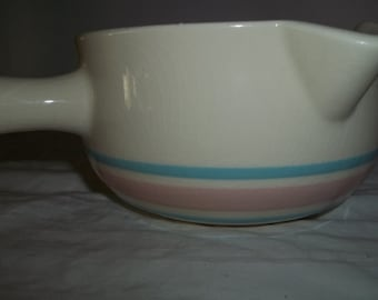 McCoy 1428 Pink and Blue Stripe Double Sided Dripping Sauce Pan Pottery