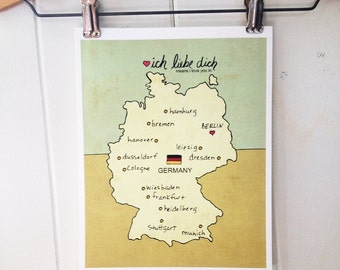 Map Wall Art Children Decor // I Love You in Germany // Illustration Travel Poster Nursery Decor, Kids Room Art, German, Pink, Blue, Yellow
