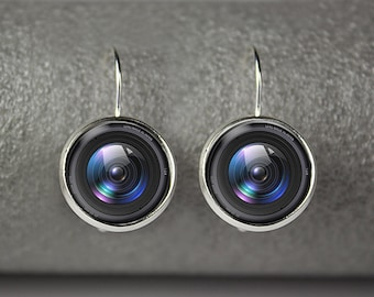 Camera lens earings,  Photographer earrings,  Lens earrings
