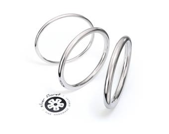 14K Solid White Gold Band, Full Round Gold Ring ( 1mm, 1.3mm, 1.6mm, 1.8mm, 2mm ), Ring Spacer, Ring Divider, Simple White Gold Wedding Band