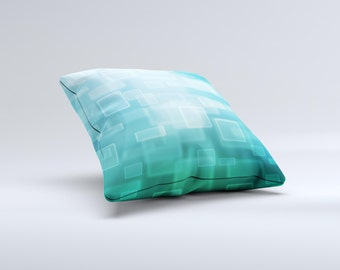 The Transparent Green & Blue 3D Squares ink-Fuzed Decorative Throw Pillow