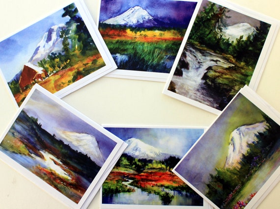 Mt. Adams Wetlands - 6 assorted note cards - Bonnie White - Columbia Gorge - Mt Adams - pacific northwest art - mountain prints