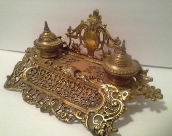 Reduced. Brass desk inkwell