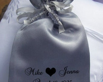 personalized satin favor bags, wedding favor bags, party favor bags