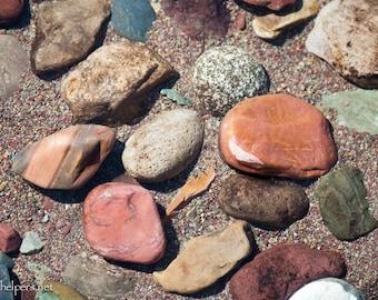 Montana Lake Rocks, Beach rocks, Greeting card or Photographic art print
