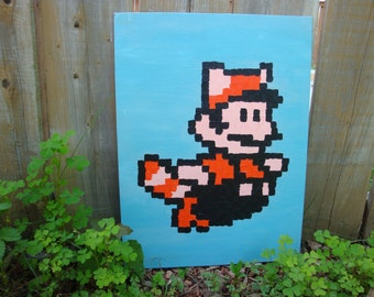 Racoon Mario from Mario Bros 3 NES pixel painting 12x16 canvas