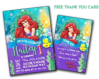 Ariel Invitation, Princess Ariel invitation, Little Ariel birthday invitation, Digital Invite, invites, Customized Order, Prints