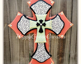 Wall Cross - Wood Cross - Medium - Coral and Mint with Black & White Swirls