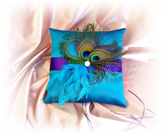 Regency Purple and Turquoise Peacock Wedding Ring Pillow, Peacock Feather Wedding Accessories