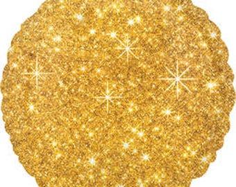 Gold Faux Sparkle Mylar Balloon/Gold Foil Sparkle Mylar/Bright Gold Sparkle Balloon