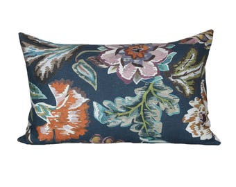READY TO SHIP - 15x24 Fiori Navy designer pillow cover (sized for 16x26 insert)