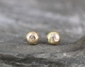 Gold Nugget Earrings - Freeform Stud Earrings - 14K Yellow Gold Nugget Earring - For Men or Women - Handmade Made in Canada