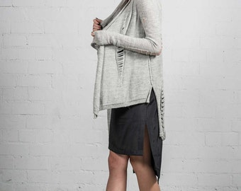 Alpaca cardigan/ Alpaca sweater / Alpaca wool/ Ripped cardigan/ Asymmetric cardigan/ Cardigans women / Wool sweater / Zero waste